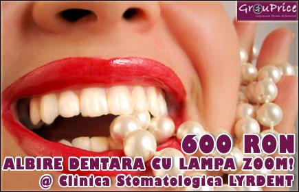 Nou la Clinica Lyrdent - Albire dentara cu lampa ZOOM - Lampa nr.1 in lume in albire profesionala, in doar 30 min! Dintii dumneavoastra vor fi mai albi cu pana la 8 nuante iar rezultatele uimitoare se pastreaza minim 3 ani!