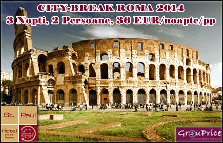 Viziteaza Roma in 2014 cu doar 36 EUR pe zi! Sejur de 3 nopti pentru 2 Persoane la Hotel Saint Paul Rome**** cu Mic Dejun si WiFi gratuit incluse! Valabilitate in lunie APRILIE, MAI, IUNIE, SEPTEMBRIE si OCTOMBRIE 2014!