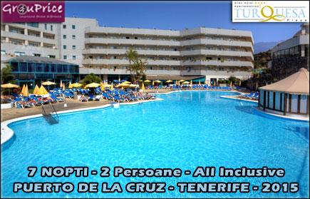 Super Reducere pentru o Vacanta ALL INCLUSIVE in TENERIFE la Gran Hotel Turquesa Playa****: 7 Nopti, 2 Adulti + 1 Copil sub 12 ani, camera dubla cu vedere la ocean, ALL INCLUSIVE (mic dejun, cina, pranz si bauturi), Welcome Gift si Acces Gym GRATUIT! Oferta valabila oricand in 2015!