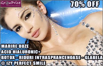 ACID HIALURONIC - MARIRE BUZE, CORECTIE, CONTUR, VOLUM SAU RETUS + BOTOX - RIDURI INTRASPRANCENOASE (GLABELA) @ IZY PERFECT SMILE