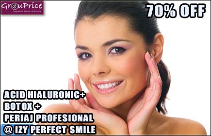 ACID HIALURONIC - EXTREMITATEA BUZELOR,  + BOTOX - RIDURI INTRASPRANCENOASE (GLABELA) + PERIAJ PROFESIONAL@ IZY PERFECT SMILE