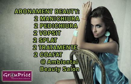In OFERTA ABONAMENT BEAUTY: VOPSIT, SPALAT, TRATAMENT, COAFAT, MANICHIURA si PEDICHIURA X 2 - valabilitate 3 luni - de la  Ambiental Beauty Salon!