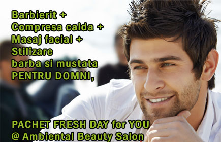 Barbierit + Compresa calda + Masaj facial + Stilizare barba si mustata - PENTRU DOMNI, PACHET FRESH DAY for YOU @ Ambiental Beauty Salon!