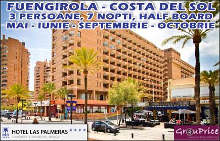 Vacanta de o saptamana in Fuengirola - Costa del Sol pentru 2 persoane in regim Half Board la Hotel Las Palmeras**** cu 53% REDUCERE! Valabilitate Mai, Iunie, Septembrie si Octombrie 2015!