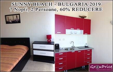 Vacanta de sapte nopti in Sunny Beach - Bulgaria in regim apart-hotel! Un spatios studio modern si complet utilat in Golden Eye Complex pentru 2 persoane, acces gratuit la piscinile complexului, WIFI gratuit, paza asigurata si parcare inclusa! Beneficiaza de 60% reducere oricand pana in Octombrie 2019