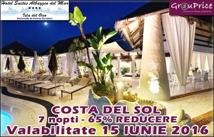 Vacanta superba in Costa del Sol - Spania! O Saptamana pentru maxim 4 Persoane intr-un apartament cochet de 80m2 la Hotel Suites AlBayzin del Mar**** cu vedere la mare, masina inchiriata inclusa pe toata durata sejurului, plus o multime de BONUSURI si AVANTAJE! Valabilitate IUNIE 2016!