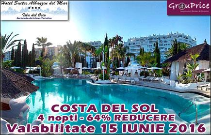 Sejur de cinci zile in Costa del Sol - Spania pentru maxim 4 Persoane intr-un apartament cochet de 80m2 la Hotel Suites AlBayzin del Mar**** cu vedere la mare, masina inchiriata inclusa pe toata durata sejurului, plus o multime de BONUSURI si AVANTAJE! Valabilitate IUNIE 2016!