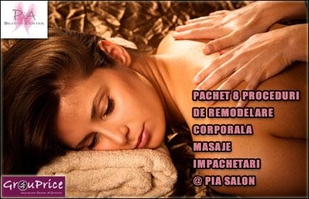 PACHET 8 PROCEDURI DE REMODELARE CORPORALA - MASAJE si IMPACHETARI  @ Pia Salon