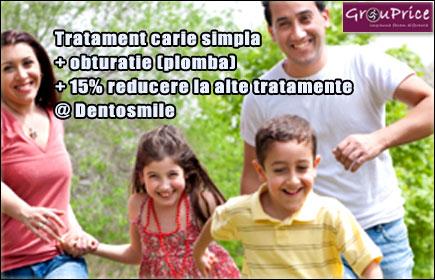 Tratament carie simpla + obturatie (plomba) + 15% reducere la alte tratamente @  Cabinetul Stomatologic Dentosmile