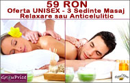59 RON Oferta UNISEX - 3 Sedinte Masaj Relaxare sau Anticelulitic (50 minute) + SUPER BONUS la Royal Fitness Club